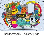 hipster hand drawn crazy doodle ... | Shutterstock .eps vector #615923735