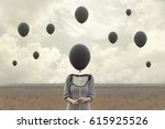 surreal image of woman and... | Shutterstock . vector #615925526