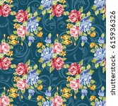 seamless floral pattern with... | Shutterstock .eps vector #615936326