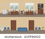 office premises in a beige...   Shutterstock .eps vector #615936422