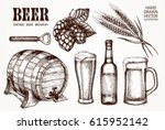 set of beer objects. hand... | Shutterstock .eps vector #615952142