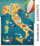colorful italy travel map with... | Shutterstock .eps vector #615959672