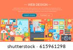 web design flat concept.... | Shutterstock .eps vector #615961298