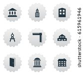 set of 9 simple structure icons.... | Shutterstock . vector #615961946