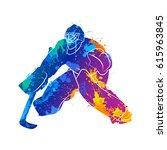 player hockey goalie   Shutterstock .eps vector #615963845