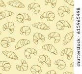 seamless beige croissant... | Shutterstock . vector #615965498
