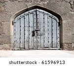 Heavy Wooden Gate In An Ancient ...
