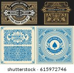 set of 4 vintage card with... | Shutterstock .eps vector #615972746