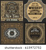 vintage cards set. western style | Shutterstock .eps vector #615972752