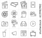 cinema and movie line set icons.... | Shutterstock .eps vector #615982982