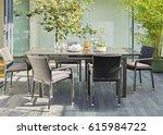 interior design of dining room... | Shutterstock . vector #615984722