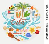 welcome to cuba  travel poster... | Shutterstock .eps vector #615985706