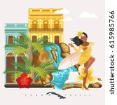 welcome to cuba  travel poster... | Shutterstock .eps vector #615985766