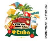 welcome to cuba  travel poster... | Shutterstock .eps vector #615985802