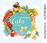 welcome to cuba  travel poster... | Shutterstock .eps vector #615985865