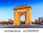 bucharest  romania. arcul de... | Shutterstock . vector #615989855