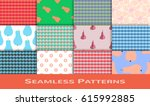 set of seamless pattern.... | Shutterstock .eps vector #615992885
