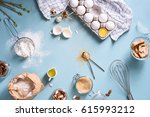 bakery ingredients   flour ... | Shutterstock . vector #615993212