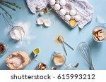 bakery ingredients   flour ... | Shutterstock . vector #615993212