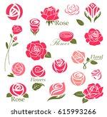 set of rose flower design... | Shutterstock .eps vector #615993266
