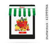 online food shopping ... | Shutterstock .eps vector #615995966