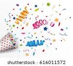exploding party popper | Shutterstock .eps vector #616011572