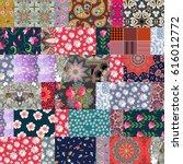 hippie patchwork pattern with... | Shutterstock .eps vector #616012772