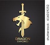 3d dragon head with sword... | Shutterstock .eps vector #616019252
