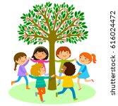 kids dancing in a circle around ... | Shutterstock . vector #616024472