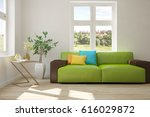white room with sofa and green... | Shutterstock . vector #616029872