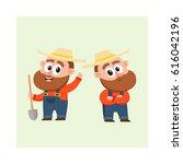 two funny farmer  gardener... | Shutterstock .eps vector #616042196
