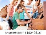 teenagers at summer music... | Shutterstock . vector #616049516