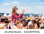 teenagers at summer music... | Shutterstock . vector #616049546