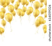 golden balloons with white... | Shutterstock .eps vector #616059326