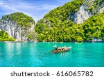 Phuket Beach Boat On Thailand...