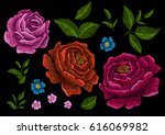 embroidery elements peonies.... | Shutterstock .eps vector #616069982