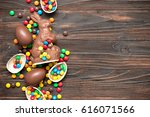 chocolate easter bunny with... | Shutterstock . vector #616071566