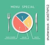 menu special plate pie chart ...   Shutterstock .eps vector #616076912
