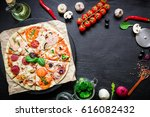 food frame with italian pizza ... | Shutterstock . vector #616082432