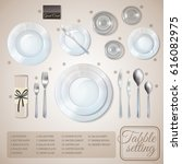 table setting top view... | Shutterstock .eps vector #616082975