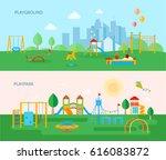 two horizontal playground... | Shutterstock .eps vector #616083872