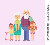 grandparents and grandchildren. ... | Shutterstock .eps vector #616084232