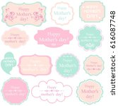 happy mother's day  set retro... | Shutterstock . vector #616087748