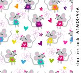 seamless mouse pattern vector... | Shutterstock .eps vector #616087946