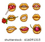 a collection of pop art icons... | Shutterstock .eps vector #616091315