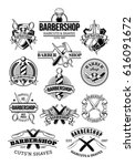 set of barbershop logos ... | Shutterstock . vector #616091672