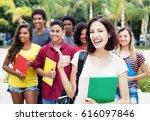 caucasian female student... | Shutterstock . vector #616097846