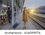 petty girl waiting at the... | Shutterstock . vector #616099076
