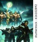 digital illustration of fantasy ... | Shutterstock . vector #616102892