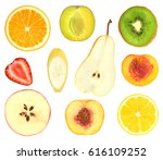 set of fruit slices isolated on ...   Shutterstock . vector #616109252